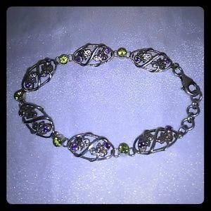 Jewelry - Sterling Silver Amethyst Peridot Foliage Bracelet